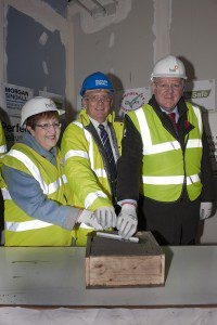 05-11-2014 Picture Roberto Cavieres.  Lennoxtown Community Hub Project. Topping Ceremony - EDC Leader Cllr. Rhonda Geekie, John Hope, Board Director, hub West Scotland Harry Thorburn, Morgan Sindall