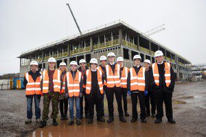 Pic Greg Macvean 05/11/2015 07971 826 457 School pupils from Dundee get to visit the Robertson development site of Forfar Community Campus where they also get to test their skills with mono-blocking and joinery work -