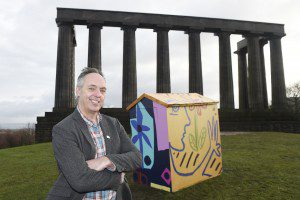 Pic Greg Macvean - 02/12/2015 - 07971 826 457 Adrian is pictured by his shed Hanneke Scott-van Wel Architect and Director of Stone Opera helps some children from Royal Mile Primary School put the final touches on a garden shed, pimped-up by artist Adrian Wiszniewski to mark the launch of the Festival of Architecture 2016 today (2nd Dec).  The Festival will run across the length and breadth of Scotland next year with 400 events, exhibitions and activities for all ages.  The headline events announced today include The Ideal Hut Show, Hinterland (St. Peter's Kilmahew), Adventures in Space and Scotstyle.  Stone Opera will be curating the community engagement programme.  Go to www.foa2016.com to find out more. Press enquiries to jude@flourishmarketing.co.uk / 07739 791 792