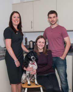 Mhairi Greer and Stuart Malcolm with their dog Sam and Sales Advisor Alison Clementson