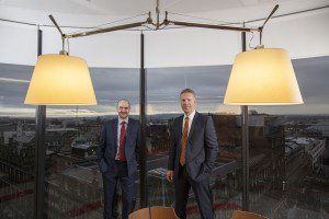 WSP Parsons Brinckerhoff UK Chief Operating Officer Mark Naysmith with Glasgow Director Pete Dunbar at the opening of their new office on 110 Queen Street, Glasgow today.  Mark Naysmith is based at the firm's Edinburgh office. Picture by Chris James   7/12/15