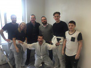 Ryan Wilson (QS), Jennifer Breaden (Assistant Planner), Jim Ward ( BAM Construction Director), Robin Wallace (Y People), Ross Gunning (Trainee Site Manager), Alex and Carl (bending down) are two young people staying in the shelter.
