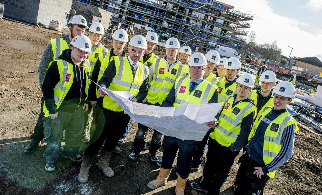 The Prince's Trust recruits with CALA Homes' site manager Neal Toland and assistant site manager Mark Hutcheson.