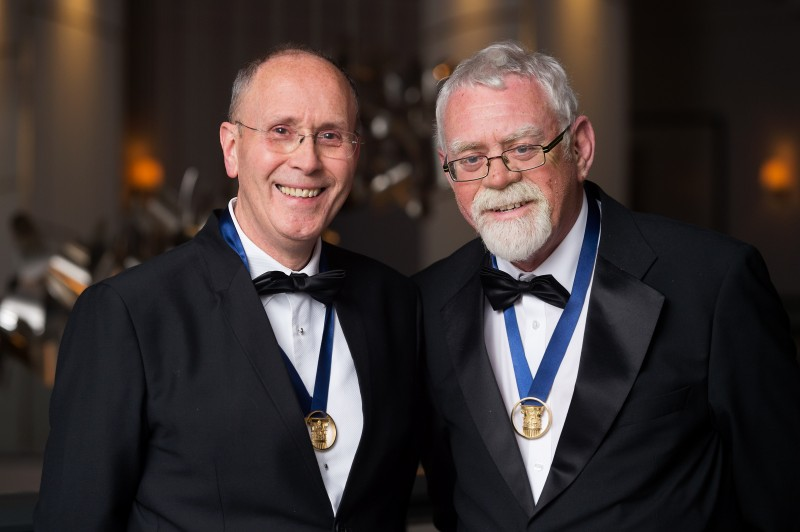 The Royal Incorporation of Architects in Scotland (RIAS). RIAS Centenary and Awards Dinner 2016, Hilton, Glasgow, 15th June 2016. Lifetime Achievement Award winners, L to R, Dick Cannon and Tom Elder of Elder & Cannon Architects. Pic free for first use relating to RIAS. For more information please contact RIAS on 0131 229 7545. © Malcolm Cochrane Photography  +44 (0)7971 835 065  mail@malcolmcochrane.co.uk  No syndication  No reproduction without permission