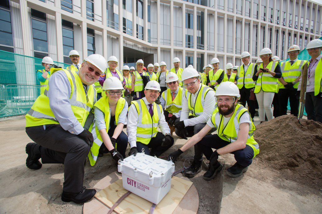 City of Glasgow College creates time capsule for future students. Photograph by Martin Shields Tel 07572 457000 www.martinshields.com © Martin Shields