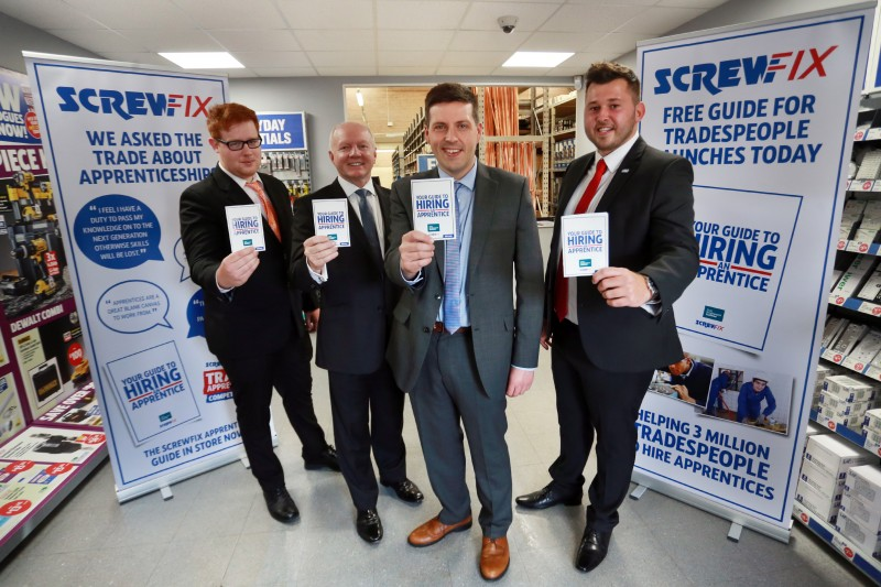 ScrewFix 1 SA : Screwfix, the UK's largest direct and online sillier of trade tools, accessories and hardware products launch the Scottish Apprentice Guide at their sight hill, Edinburgh store on Wednesday 6th July. Minister for Employability and training Jamie Hepburn MSP meets Screwfix operations director Graham Bell and two young apprentices William Hosie and Thomas Morgan. All images © Stewart Attwood Photography 2016.. All other rights are reserved. Use in any other context is expressly prohibited without prior permission.
