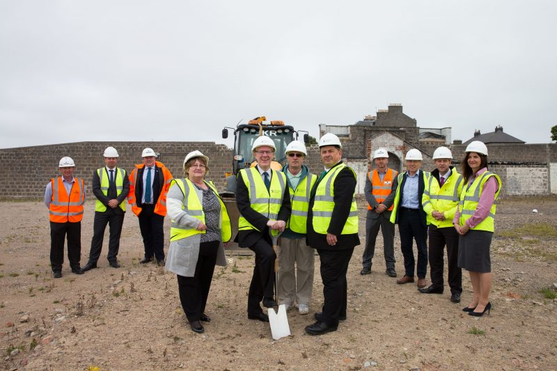 Monday 5th September 2016, Aberdeen, Scotland. The Development of a former city prison site into affordable homes for key workers is officially underway. Sanctuary will create 124 properties in Torry, Aberdeen, on land once occupied by HMP Craiginches.  Pictured: (Green Tie) Peter Martin, Sanctuary Groups Director of Development and Kevin Stewart, MSP    (Photo: Ross Johnston/Newsline Media)