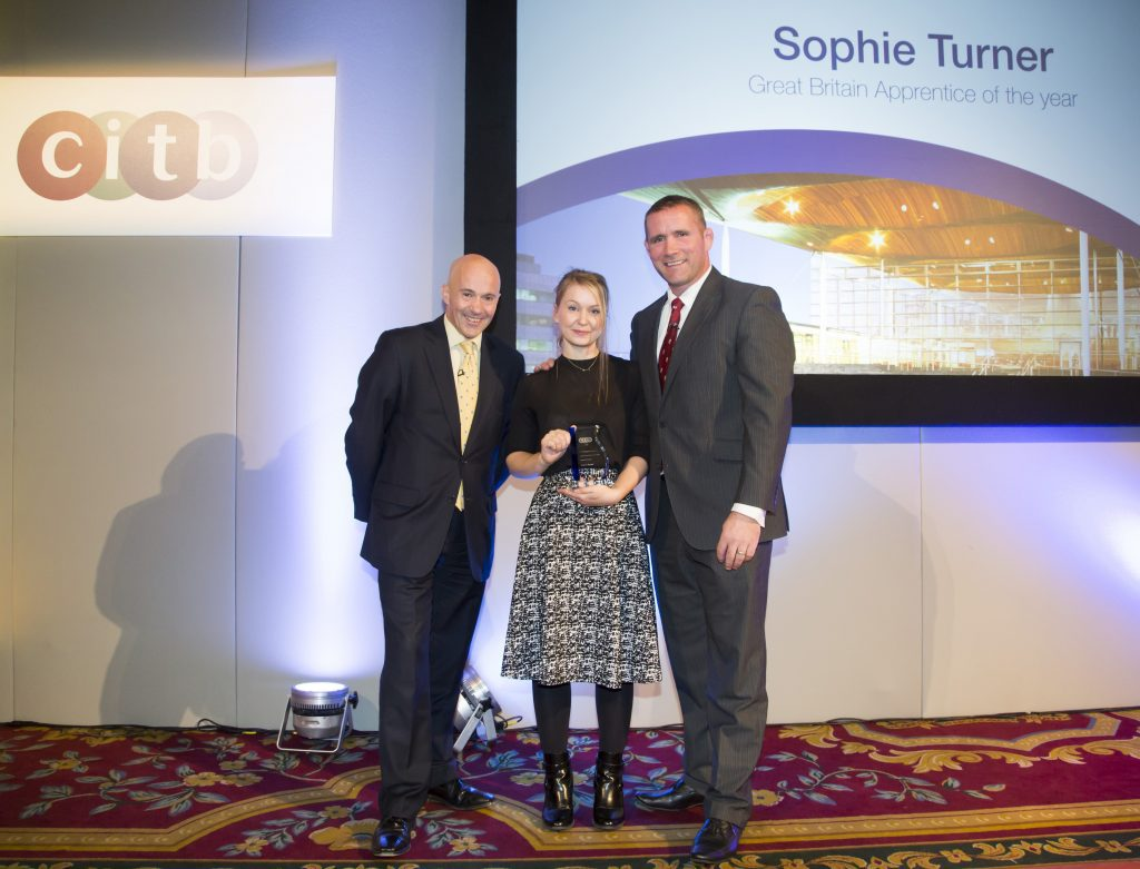 L-R: CITB CEO Adrian Belton, Sophie Turner, Phil Vickery