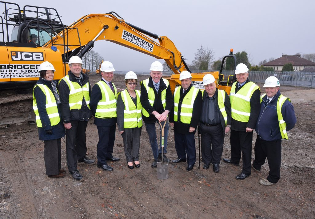 L-R:Gillian Whitehead, Area Manager; Robert Leitch, Project Manager; Brian Lafferty, Head of Business, (all North Lanarkshire Council); Local member, Councillor Agnes Coyle; Convener of Housing, Councillor Barry McCulloch; Local member, Councillor Tom Curley; Local member Councillor Michael Coyle; Ian Gillespie, Project Services Manager, North Lanarkshire Council and David Jardine, Site Manager, Cruden