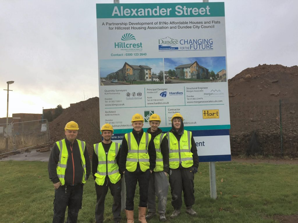(L-R) Thomas Malley, Marc Byres, Sean Murphy (Hart Builders' assistant site manager and mentor) Jordan Anderson and Jon Colquhoun